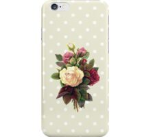 Roses, Flowers, Blooms, Leaves - Red Green White iPhone Case/Skin