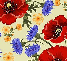 Poppy Flowers, Petals, Leaves - Red Green Blue by sitnica