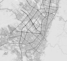 Bogota, Colombia Map. (Black on white) by Graphical-Maps