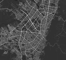 Bogota, Colombia Map. (White on black) by Graphical-Maps