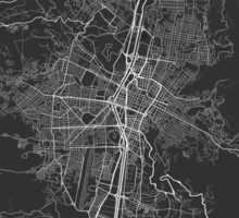 Medellin, Colombia Map. (White on black) Sticker
