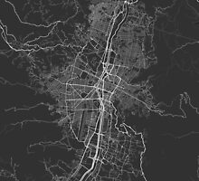 Medellin, Colombia Map. (White on black) by Graphical-Maps