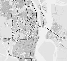 Guayaquil, Ecuador Map. (Black on white) by Graphical-Maps