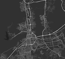 Valencia, Venezuela Map. (White on black) by Graphical-Maps