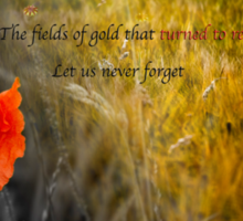 The fields of gold - rememberance Sticker