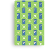 Police Box and Daisies pattern Canvas Print