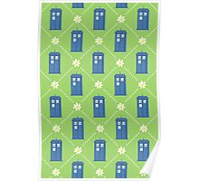 Police Box and Daisies pattern Poster