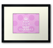 Keep Calm and Paint Your Nails - Pink Polka Dots Framed Print