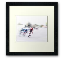 Speeding into the Curve Framed Print