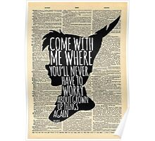 Peter Pan Vintage Dictionary Page Style -- Grown Up Things Poster