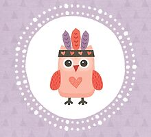 Hipster Owlet Purple v2 - Card-iPad-Phone Cases by daisy-beatrice