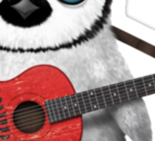 Baby Penguin Playing Albanian Flag Guitar Red Sticker