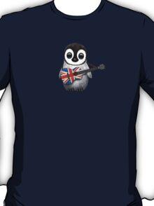 Baby Penguin Playing British Flag Guitar Red T-Shirt