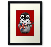 Baby Penguin Playing British Flag Guitar Red Framed Print