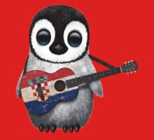 Baby Penguin Playing Croatian Flag Guitar Red Kids Clothes