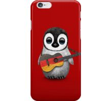 Baby Penguin Playing German Flag Guitar Red iPhone Case/Skin
