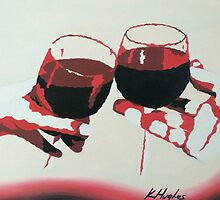 Wine Glasses - Red by katehughesy