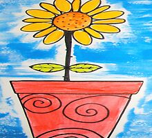 Happy Sunny Yellow Sunflower in Red Pot Whimsical Folk Art by art-by-micki