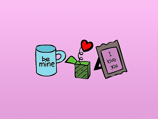 Mug, Box, Heart, Frame - Blue Green Red Pink by sitnica