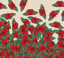 Ruby & Emerald Butterfly Dance - red, teal & green butterflies on cream by Perrin Le Feuvre