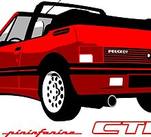 Peugeot 205 CTI cabriolet red by car2oonz