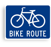 Bike Route Sign Canvas Print