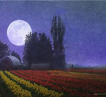 moon rise over the tulip fields by R Christopher  Vest