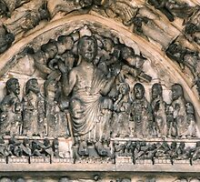 Judgement Tympanum over door Cathedral Laon France 198405070033 by Fred Mitchell