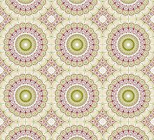 Dusty Rose and Olive Green Kaleidoscope Flowers by Mercury McCutcheon