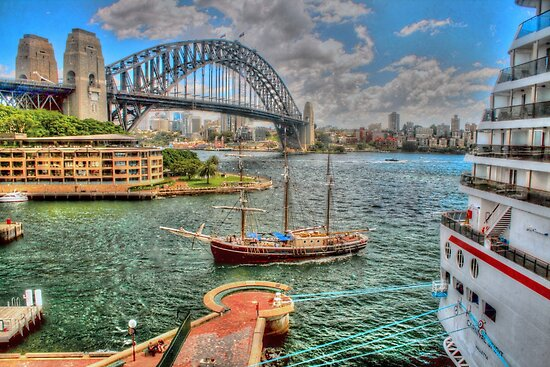 Big ship & little ship on our beautiful harbour .. in HDR by Michael Matthews