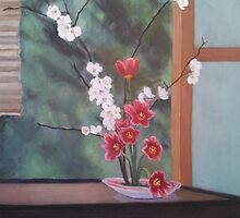Ikebana With Tulips and Apple Blossoms by bmatlin