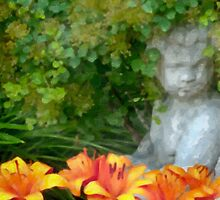 Garden Girl And Orange Lilies Digital Watercolor by Sandra Foster