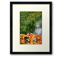 Garden Girl And Orange Lilies Digital Watercolor Framed Print