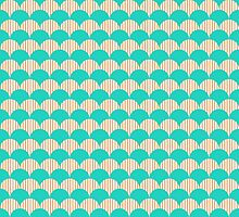 Ocean Blue and Sand Scallop Pattern Design by Mercury McCutcheon