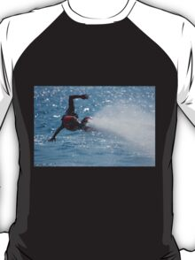 Flyboarder with outstretched arms low over water T-Shirt