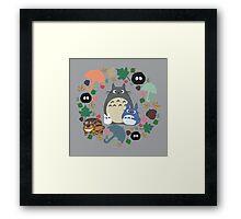 My Neighbor Totoro Wreath - Anime, Catbus, Soot Sprite, Blue Totoro, White Totoro, Mustard, Ochre, Umbrella, Manga, Hayao Miyazaki, Studio Ghibl Framed Print