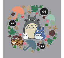 My Neighbor Totoro Wreath - Anime, Catbus, Soot Sprite, Blue Totoro, White Totoro, Mustard, Ochre, Umbrella, Manga, Hayao Miyazaki, Studio Ghibl Photographic Print