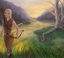 Wandering The Land - Fantasy Archer Painting by Adrienn Ecsedi
