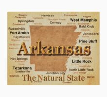 Aged Arkansas State Pride Map Silhouette  Kids Clothes