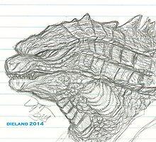 Godzilla 2014 sketch by dieland43