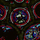 Lower part of rose window Cathedral Laon France 198405070049 by Fred Mitchell