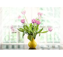 Pink Tulips In The Window Photographic Print