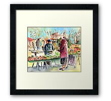 Vegetable Seller in a Provence Market Framed Print