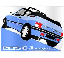 Peugeot 205 CJ cabriolet light blue Poster