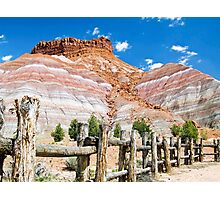 Tecnicolor Cliffs and Fence at Pariah, Utah Photographic Print