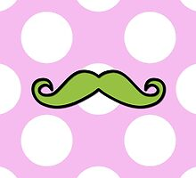 Curly Moustache, Polka Dots - Black Green Pink by sitnica
