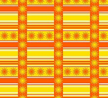 Bright Yellow and Orange Sunshine Striped Pattern by Mercury McCutcheon
