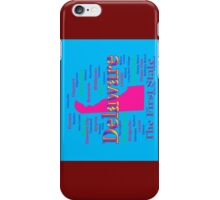 Colorful Delaware State Pride Map Silhouette  iPhone Case/Skin