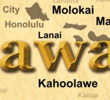 Aged Hawaii State Pride Map Silhouette  Sticker