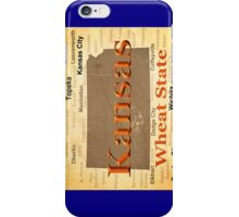 Aged Kansas State Pride Map Silhouette  iPhone Case/Skin